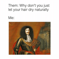Hair, Classical Art, and Why: Them: Why don't you just  let your hair dry naturally  Me: You tell me