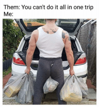 Ass, Meme, and Girl Memes: Them: You can't do it all in one trip  Me: I'm seen this meme done over a dozen variations but this one, the ass cheeks kill me.