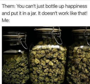 Work, Happiness, and Them: Them: You can't just bottle up happiness  and put it in a jar. It doesn't work like that!  Me:
