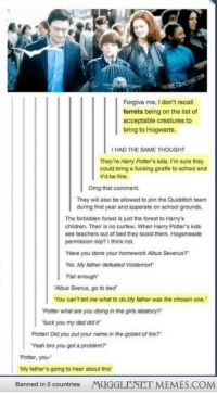 "Children, Dad, and Fire: THEMET  Forgive me, I don't recall  ferrets being on the list of  acceptable creatures to  bring to Hogwarts.  I HAD THE SAME THOUGHT  They're Harry Potters kids. I'm sure they  could bring a fucking giraffe to school and  it'd be fine.  Omg that comment.  They will also be allowed to join the Quidditch team  during first year and apparate on school grounds.  The forbidden forest is just the forest to Harry's  children. Their is no curfew. When Harry Potter's kids  see teachers out of bed they scold them. Hogsmeade  permission slip? I think not.  Have you done your homework Albus Severus?  No. My father defeated Voldemort  Fair enough  Albus Sverus, go to bed""  You can't tell me what to do.My father was the chosen one.  Potter what are you doing in the girls labatory?  fuck you my dad did it  Potter! Did you put your name in the goblet of fire?  Yeah bro you got a problem?  Potter, you-  My father's going to hear about this  Banned in 0 countries  MUGGLENET MEMES.COM <p>My father&rsquo;s going to hear about this. <a href=""http://ift.tt/1zTwTir"">http://ift.tt/1zTwTir</a></p>"