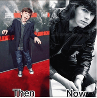 Desperate, Friends, and Memes: Then  a page  Now Q: Do you think Chandler Riggs' parents named him after the Friends character? . Follow @walkingdead_amc for daily twd updates 🆙, memes 🚀and cast 📸 . amcthewalkingdead thewalkingdead twdfamily walkingdead glennrhee maggiegreene laurencohan glaggie michonne carol carolpeletier daryl maggierhee truth real desperate chandlerriggs carlgrimes lucille negan glenn twdseason7 ripglenn twd twdcast ripabraham caryl