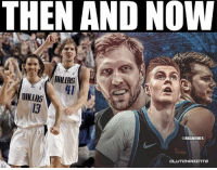 Dirk Nowitzki, Nba, and Dallas: THEN AND NOW  DALIAS  41  DALLAS  13  @NBAMEMES Dirk Nowitzki has some new foreign talent in town now. 🔥  Full details on Porzingis trade: bit.ly/PorzingisTrade
