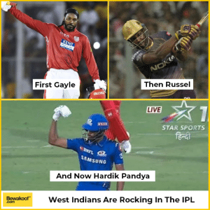 Memes, Sports, and Black: Then Russel  First Gayle  LIVE  STAR SPORTS  bo  SAMSUNG  And Now Hardik Pandya  BewakoofWest Indians Are Rocking In The IPL  .com I'm a little bit on the black side- Hardik Pandya in Coffee with Karan. West Indies in full force.
