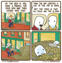 Dogs, Comics, and Art: THEN THE APP CREATES A  LIST OF THE TOP 10 DOGS  BUT THE TRICK IS THAT  ALL DOGS ARE TOP I0 DOGS  SO THE IDEA IS You  MAKE A PROFILE  FOR  YOUR DOG AND THEN  OTHERS RATE THEM  WOAH  3NO  of  Art by: GoodBearComics  Writing by: Hot PaperComics <p>X-Post from r/comics u/NonRock</p>