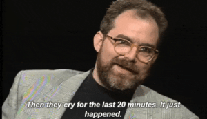 falsettosw:  William Finn discussing Falsettos on Charlie Rose (1992): Then they cry for the last 20 minutes. It just  happened. falsettosw:  William Finn discussing Falsettos on Charlie Rose (1992)