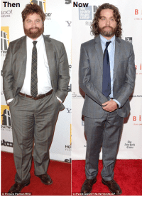Zach Galifianakis looking great after dramatic weight loss.: Then  Tool  MOVIES  Picture Perfect REX  Now  Society  HOM  CEVAN AGOSTINIINVISION AP  an Air  BI  ork  Eimes Zach Galifianakis looking great after dramatic weight loss.