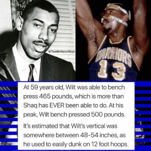 At age 45, Wilt was offered a contract to play for the Cavaliers. At age 50, he was offered a contract to play for the Nets. Guy was unheard of 👀🙌🏽 - - @TheNBANeverStops 🏀: @TheNBANeverStops  At 59 years old, Wilt was able to bench  press 465 pounds, which is more than  Shaq has EVER been able to do. At his  peak, Wilt bench pressed 500 pounds.  It's estimated that Wilt's vertical was  somewhere between 48-54 inches, as  he used to easily dunk on 12 foot hoops. At age 45, Wilt was offered a contract to play for the Cavaliers. At age 50, he was offered a contract to play for the Nets. Guy was unheard of 👀🙌🏽 - - @TheNBANeverStops 🏀