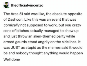 : theofficialvincenzo  The Area 51 raid was like, the absolute opposite  of Dashcon. Like this was an event that was  comically not supposed to work, but you crazy  sons of bitches actually managed to show up  and just throw an alien-themed party while  armed gaurds stood angrily on the sidelines. It  was JUST as stupid as the memes said it would  be and nobody thought anything would happen  Well done