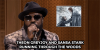 """<p><a href=""""https://www.youtube.com/watch?v=creKsq6UrDc&amp;index=5&amp;list=UU8-Th83bH_thdKZDJCrn88g"""" target=""""_blank"""">The Roots&rsquo; Black Thought raps a Game Of Thrones recap</a>.<br/></p>: THEON GREYJOY AND SANSA STARK  RUNNING THROUGH THE WOODS <p><a href=""""https://www.youtube.com/watch?v=creKsq6UrDc&amp;index=5&amp;list=UU8-Th83bH_thdKZDJCrn88g"""" target=""""_blank"""">The Roots&rsquo; Black Thought raps a Game Of Thrones recap</a>.<br/></p>"""
