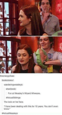 Memes, Wizards, and 🤖: theoneogorbae:  bookoisseur:  wandering weasleys:  Shandwick:  Fun at Weasley's Wizard Wheezes.  MActualSiblings  The look on her face.  have been dealing with this for 10 years, You don't even  know,  aActualWeasleys ~Dobby