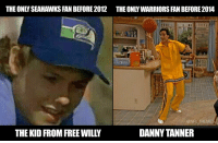 Football, Memes, and Nfl: THEONLY SEAHAWKS FAN BEFORE 2012 THE ONLY WARRIORS FAN BEFORE2014  @NFL MEMES  DANNY TANNER  THE KID FROM FREE WILL The OGs https://t.co/a2cRvIj45q