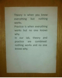 Memes, 🤖, and One: Theory is when you know  everything but nothing  works.  Practice is when everything  works but no one knows  why  In our lab, theory and  practice are combined:  nothing works and no one  knows why