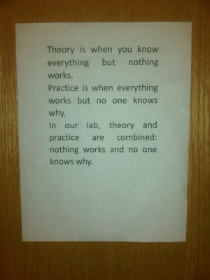 One, Why, and You: Theory is when you know  everything but  nothing  works.  Practice is when everything  works but no one knows  why.  In our lab, theory and  combined:  practice  are  nothing works and no one  knows why. In the lab…