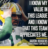 """""""We're about 20 mil under the cap as usual, so we got plenty of room."""" Packers NFL GoPackGo GreenBay Wisconsin (H-T @packersnewsinsta): THEPACKERPAGE  I KNOW MY  VALUE IN  THIS LEAGUE  ANDI KNOW  THAT THIS TEAM  APPRECIATES ME  AARON RODGERS  ONNEL OUARTERBACK CONTRACTS """"We're about 20 mil under the cap as usual, so we got plenty of room."""" Packers NFL GoPackGo GreenBay Wisconsin (H-T @packersnewsinsta)"""