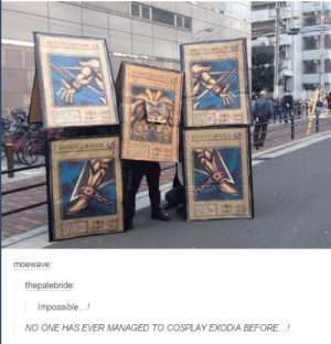 Dank, Cosplay, and Godlike: thepalebride  Impossible..!  NO ONE HAS EVER MANAGED TO COSPLAY EXODIA BEFORE...! Godlike cosplay.