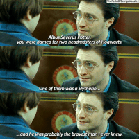 """Harry Potter, Memes, and Slytherin: ThePerksOfBeingaWeasley  Albus Severus Potter,  you were named for two headmasters of Hogwarts.  One of them was a Slytherin.  ..and he was probably the bravest manIever knew. """"Albus Severus Potter, you were named for two headmasters of Hogwarts. One of them was a Slytherin and he was probably the bravest man I ever knew."""" -Harry Potter, the Deathly Hallows Part 2 harrypotter"""
