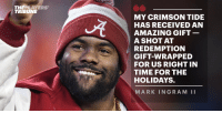 As the @AlabamaFTBL vs. @ClemsonFB trilogy nears Monday's kick-off, a shot at redemption is atop @MarkIngram22's holiday wish list. #RollTide https://t.co/N5UhMbNuGw https://t.co/x4xDXK6m1t: THEPLAYERS  TRIBUNE  MY CRIMSON TIDE  HAS RECEIVED AN  AMAZING GIFT  A SHOT AT  REDEMPTION  GIFT-WRAPPED  FOR US RIGHT IN  TIME FOR THE  HOLIDAYS.  MARK INGRAM II As the @AlabamaFTBL vs. @ClemsonFB trilogy nears Monday's kick-off, a shot at redemption is atop @MarkIngram22's holiday wish list. #RollTide https://t.co/N5UhMbNuGw https://t.co/x4xDXK6m1t