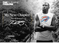 Kevin Durant's newest chapter: I'm going back. #Thunder Nation: THEPLAYERS  TRIBUNE  My Next Chapter  KEVIN DURANT  @NBAMEMES Kevin Durant's newest chapter: I'm going back. #Thunder Nation