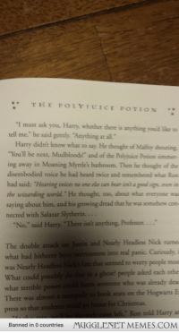 """Christmas, Dumbledore, and Memes: *THEPOLYTUICE POTION  """"I must ask you, Harry, whether there is anything you'd like n  tell me."""" he said gently. """"Anything at all.  Harry didn't know what to say. He thought of Malfoy shouting  """"You'll be next, Mudbloods!"""" and of the Polyjuice Pocion simmer-  ing away in Moaning Myrtle's bathroom. Then he thought of the  disembodied voice he had heard twice and remembered what Ron  had said: """"Hearing voices no one else can hear in's a good sign,evere  the wizarding world."""" He thought, too, about what everyone was  saying about him, and his growing dread that he was somehow con-  nected with Salazar Slytherin.  The double attack on Justin and Nearly Headless Nick turnes  what had hitherto been nervousness into real panic. Curiously, i  ate that seemed to worry people mos  was Nearly Headless Nicks  What could possibly do that to a ghost? people asked each othe  uld harm someone who was already dea  to book seats on the Hogwarts E  what terrible power  There was almost a stam  press so that students could go home for Christmas  es left."""" Ron told Harry a  MUGGLENET MEMES.COM  Banned in 0 countries <p>He&rsquo;s speaking to Dumbledore, why doesn&rsquo;t he just tell him? Specifically about the voice. (Top paragraph) <a href=""""http://ift.tt/1gx5jzt"""">http://ift.tt/1gx5jzt</a></p>"""