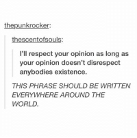 Respect, World, and Humans of Tumblr: thepunkrocker:  thescentofsouls  l'll respect your opinion as long as  your opinion doesn't disrespect  anybodies existence.  THIS PHRASE SHOULD BE WRITTEN  EVERYWHERE AROUND THE  WORLD