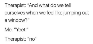 "It's that simple: Therapist: ""And what do we tell  ourselves when we feel like jumping out  a window?""  Me: ""Yeet.""  Therapist: ""no"" It's that simple"