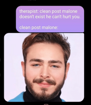 Post Malone, You, and Post: therapist: clean post malone  doesn't exist he can't hurt you.  clean post malone: