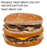 heart attack: therapist: heart attack cow isn't  real and can't hurt you  heart attack cow