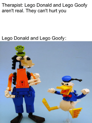 True terror: Therapist: Lego Donald and Lego Goofy  aren't real. They can't hurt you  Lego Donald and Lego Goofy: True terror