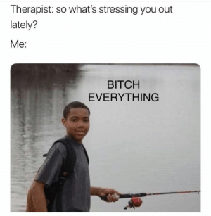 : Therapist: so what's stressing you out  lately?  Me:  BITCH  EVERYTHING