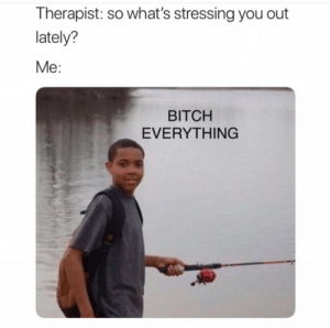 True af: Therapist: so what's stressing you out  lately?  Me:  BITCH  EVERYTHING True af