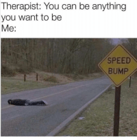 Funny, Speed, and Can: Therapist: You can be anything  you want to be  Me:  SPEED  BUMP 🙄