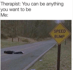 meirl by -Nekro- MORE MEMES: Therapist: You can be anything  you want to be  Me:  SPEED  BUMP meirl by -Nekro- MORE MEMES