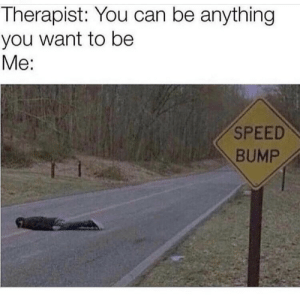 Shoot for the stars: Therapist: You can be anything  you want to be  Me:  SPEED  BUMP Shoot for the stars