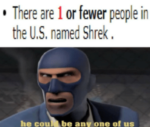 What about donkey?: There are 1 or fewer people in  the U.S. named Shrek  he coud be any one of us What about donkey?