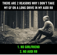 3. Can't drive http://9gag.com/gag/aW8j4E4?ref=fbpic: THERE ARE 2 REASONS WHYIDONT TAKE  MY GF ON A LONG DRIVE IN MY AUDI R8  1. NO GIRLFRIEND  2. NO AUDI R8 3. Can't drive http://9gag.com/gag/aW8j4E4?ref=fbpic