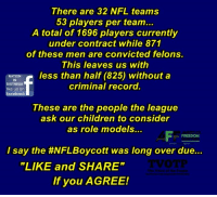 """I say the #NFLBoycott was long over due... #StandForTheAnthem: There are 32 NFL teams  53 players per team...  A total of 1696 players currently  under contract while 871  of these men are convicted felons  This leaves us with  NATION  IN  DISTRESS  like us on  facebook  criminal record.  These are the people the league  ask our children to consider  as role models..  I say the #NFLBoycott was long over due  """"LIKE and SHARE""""  If you AGREE! I say the #NFLBoycott was long over due... #StandForTheAnthem"""
