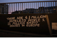 Homeless, Europe, and Houses: THERE ARE 4.] MILLION  HOMELESS PEOPLE  11 MILLION EMPTY  HOUSES IN EUROPE