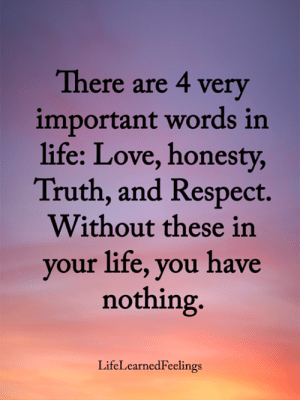 Life, Love, and Memes: There are 4 very  important words in  life: Love, honesty,  Truth, and Respect.  Without these in  your life, you have  nothing.  LifeLearnedFeelings <3