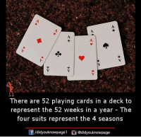Memes, Suits, and 🤖: There are 52 playing cards in a deck to  represent the 52 weeks in a year - The  four suits represent the 4 seasons  囝/didyouknowpagel @didyouknowpage