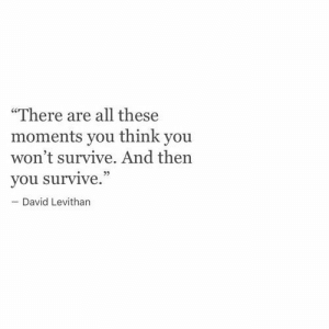 """David Levithan, Think, and All: """"There are all these  moments you think you  won't survive. And then  you survive.""""  David Levithan"""