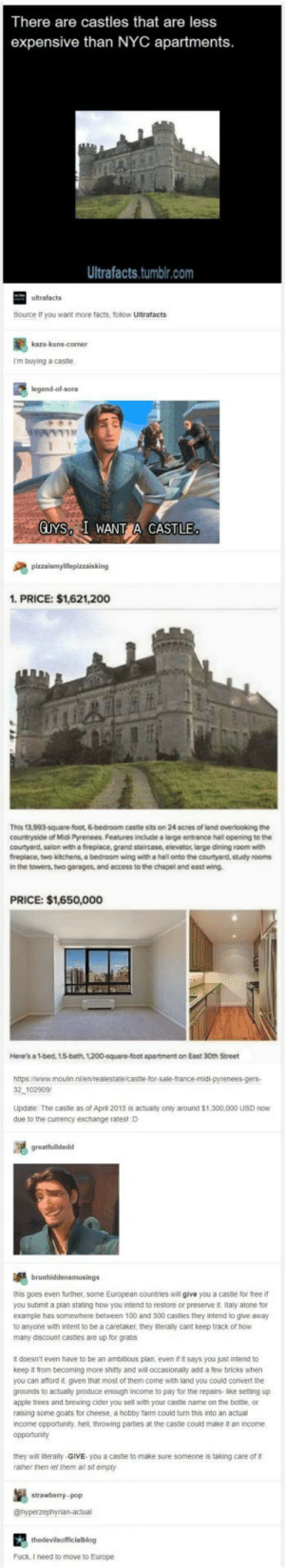 Being Alone, Anaconda, and Apple: There are castles that are less  expensive than NYC apartments  Ultrafacts.tumblr.com  ultrafacts  Source it you want more facts, follow Ultrafacts  I'm buying a castle  legend-ol-sora  GUYS I WANT CASTLE  1. PRICE: $1,621,200  This 13,993-square-foot, 6-bedroom cestle sits on 24 acres of land overlooking the  countryside of Midi Pyrenees. Features include a large entrance hall opening to the  courtyard, salon with a fireplace, grand staircase, elevator, large dining room with  fireplace, two kitchens, a bedroom wing with a hal onto the courtyard, study rooms  in the towers, two garages, and access to the chapel and east wing  PRICE: $1,650,000  Here's a 1-bed, 15-bath, 1200-square-foot apartment on Eest 30th Street  2 102909  Update The castle as of April 2015 is actualy only around $1,300,000 USD now  due to the currency exchange ratesl D  this goes even further, some European countries will give you a castle for free if  you submit a plan stating how you intend to restore or preserve it Italy alone for  example has somewhere between 100 and 300 castles they intend to give away  to anyone with intent to be a caretaker, they iteraly cant keep track of how  many discount casties are up for grabs  It doesn't even have to be an ambitious plan, even it it says you just intend to  keep it from becoming more shitty and will occasionally add a few bricks when  you can aford it. given that most of them come with land you could convert the  grounds to actually produce enough income to pay for the repairs-like setting up  apple trees and brewing cider you sell with your castle name on the bottle or  raising some goats for cheese, a hobby farm could turn this into an actual  income opportunity. hell, throwing parties at the caste could make it an income  opportunity  they will literally-GIVE you a caste to make sure someone is taking care of  ramer men let them a sit empty  stowebery  Fuck, I need to move to Europe BRB breaking my piggy bank and moving to Europe