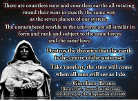 giordano: There are countless suns and countless earths all rotating  round their suns in exactly the same way  as the seven planets of our system  The unnumbered worlds in the universe are all similar in  form and rank and subject to thesame forces  and the same laws  Destroy thetheoriesthattheearth  is the centre of the universe!  Take comfort the time will come  when all men will see as I do.  Giordano Bruno  Born 1548 burned at the stake  for heresy by the Inquisition in 1600  FAC  EBOOK.COMPUNKROCKSCIENTIST
