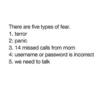 WE NEED TO TALK SHOULD BE 1: There are five types of fear.  1. terror  2: panic  3. 14 missed calls from mom  4: username or password is incorrect  5. we need to talk WE NEED TO TALK SHOULD BE 1