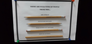 I lost my job in academic research due to budget cuts. I took all my belongings and left this.: THERE ARE FOUR TYPES OF PEOPLE  THOSE WHO...  ARE AVERAGE  HB N  PAPERIMATE CLASSIC  NEVER MAKE MISTAKES  HS N  PAPERIM47E CLISSIC  MAKE NOTHING BUT MISTAKES  ASSIC  PAPERA4TE  DON'T DO ANYTHING  L3TE CLASSC  AAPER I lost my job in academic research due to budget cuts. I took all my belongings and left this.