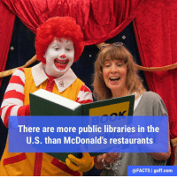 Memes, 🤖, and McDonald: There are more public libraries in the  U.S. than McDonald's restaurants  @FACTS I guff.com Facts Library Read Reading Books McDonalds Food Restaurant