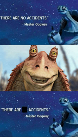 """yes there are: THERE ARE NO ACCIDENTS.""""  Master Oogway  """"THERE ARE  ACCIDENTS.""""  Master Oogway yes there are"""