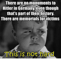 Amen!: There are nomonuments to  Hitler in Germany,even though  that's part of their history.  There are memorials for victims  This is not hard Amen!