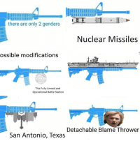 modifications: there are only 2 genders  Nuclear Missiles  ossible modifications  This Fully Armed and  Operational Battle Station  Detachable Blame Thrower  San Antonio, Texas