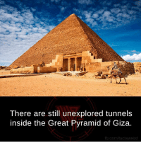 pyramids of giza: There are still unexplored tunnels  inside the Great Pyramid of Giza.  fb.com/factsweird