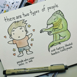 Omg, Tumblr, and Blog: there are tuo typs of people  0  people who wear  Socks in bed  cold fuckin blooded  heartless lizard people omg-images:  [OC] You're all monsters